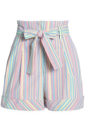 NICHOLAS Belted striped cotton-blend shorts