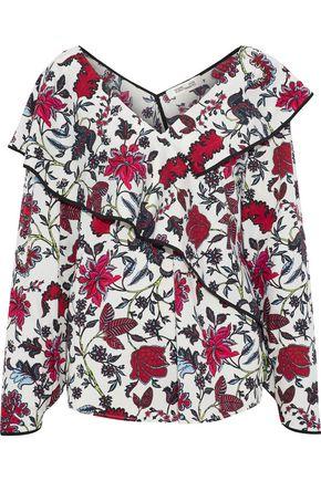 DIANE VON FURSTENBERG Wrap-effect floral-print cotton-blend poplin blouse