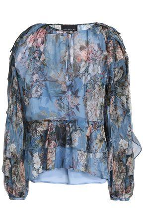 NICHOLAS Ruffled floral-print silk-georgette blouse