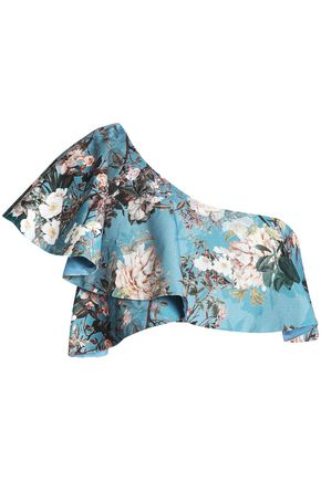NICHOLAS Arielle one-shoulder ruffled floral-print cotton-blend jacquard top