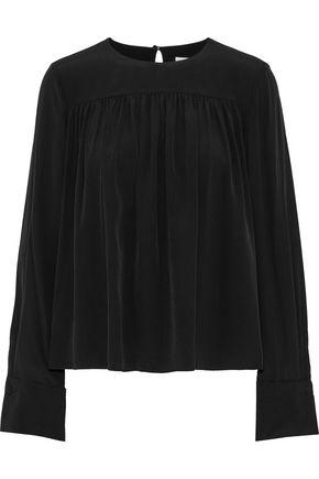 DIANE VON FURSTENBERG Gathered silk crepe de chine blouse