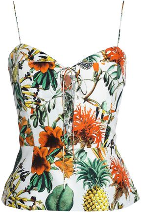 NICHOLAS Lace-up printed linen and silk-blend peplum top