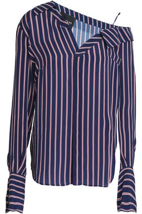 NICHOLAS Asymmetric pinstriped crepe de chine shirt