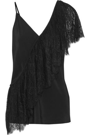 DIANE VON FURSTENBERG Ruffled corded lace-paneled silk-satin top