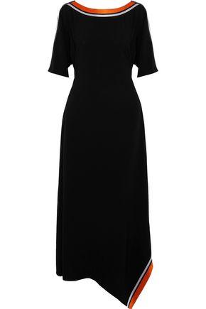 DIANE VON FURSTENBERG Satin-trimmed cutout crepe midi dress
