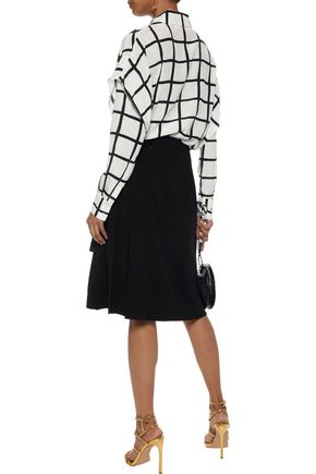 DIANE VON FURSTENBERG Layered checked washed-silk top