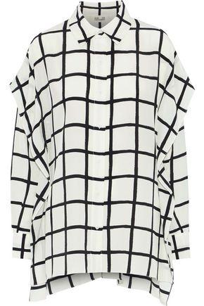 DIANE VON FURSTENBERG Layered checked washed-silk top