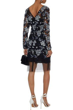 DIANE VON FURSTENBERG Layered guipure lace and tulle dress