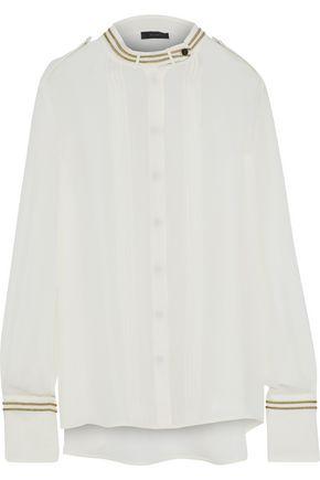 BELSTAFF Johanna lamé-trimmed pleated silk-chiffon top