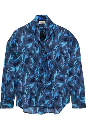 L'AGENCE Gisele tie-neck printed silk blouse