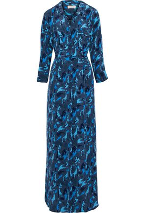 L'AGENCE Printed silk crepe de chine maxi shirt dress