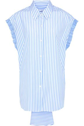 TOME Lace-up ruffle-trimmed striped cotton-poplin shirt