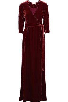 L'AGENCE Rosalind belted velvet wrap gown