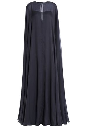 VALENTINO Cape-effect silk-voile gown