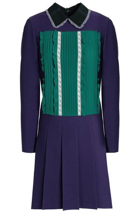 VALENTINO Pintucked georgette-paneled wool and silk-blend mini dress