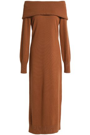 THEORY Off-the-shoulder merino wool midi dress