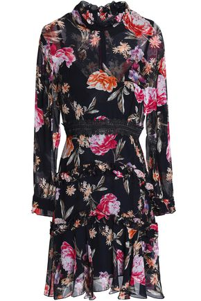 NICHOLAS Ruffle-trimmed floral-print silk-chiffon mini dress