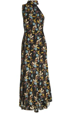 NICHOLAS One-shoulder printed silk crepe de chine maxi dress
