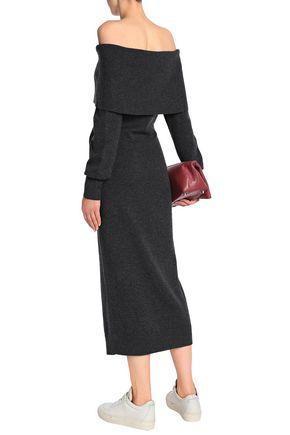 THEORY Off-the-shoulder mélange merino wool midi dress