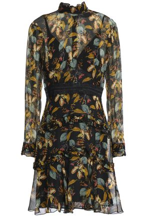 NICHOLAS Printed silk-georgette mini dress