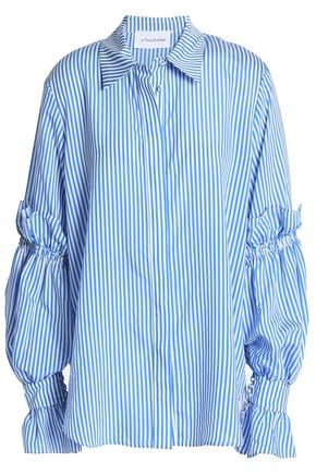 NICHOLAS Gathered striped woven shirt