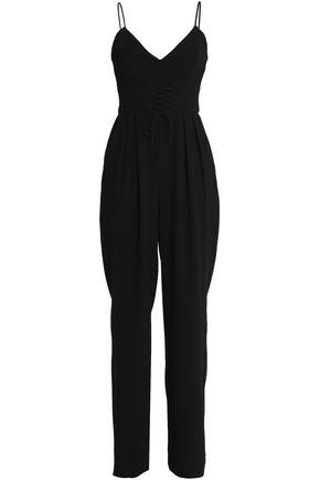 NICHOLAS Lace-up crepe jumpsuit