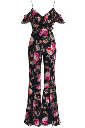 NICHOLAS Off-the-shoulder ruffled floral-print silk-georgette jumpsuit
