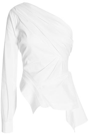 NICHOLAS One-shoulder draped cotton-blend poplin top
