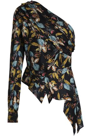 NICHOLAS One-shoulder printed silk-crepe top