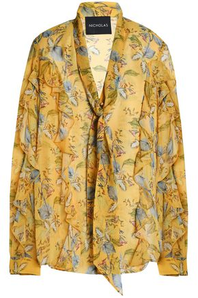 NICHOLAS Ava pussy-bow ruffled printed silk-georgette blouse