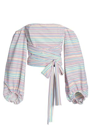 NICHOLAS Off-the-shoulder striped cotton-blend top