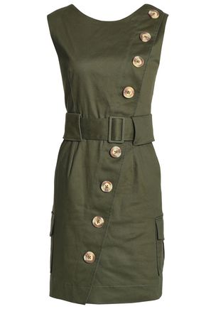 NICHOLAS Belted stretch-cotton twill mini dress