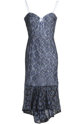 NICHOLAS Bow-detailed corded lace midi dress