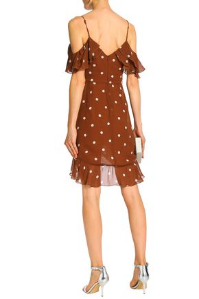 NICHOLAS Cold-shoulder ruffle-trimmed polka-dot silk-chiffon dress