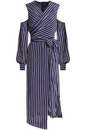 NICHOLAS Cold-shoulder wrap-effect striped crepe de chine dress