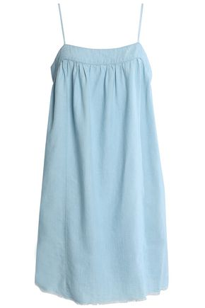 SOFT JOIE Frayed cotton-blend chambray mini dress