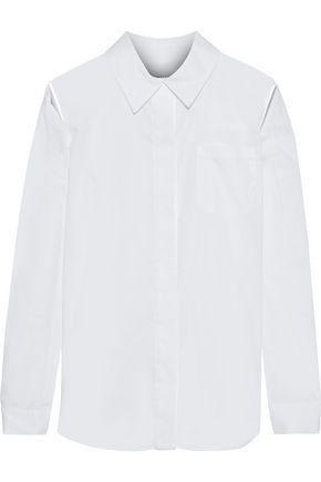 MILLY Cassie cutout stretch-cotton shirt