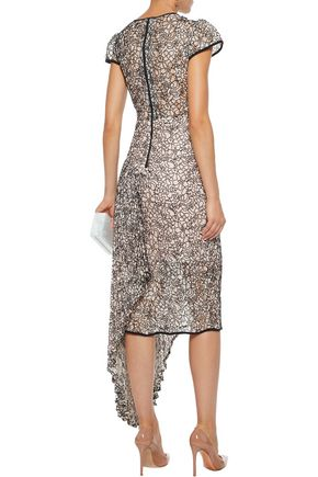 MILLY Margaret asymmetric embroidered lace dress