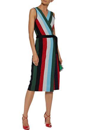 DIANE VON FURSTENBERG Metallic Intarsia Merino Wool Blend Wrap Dress