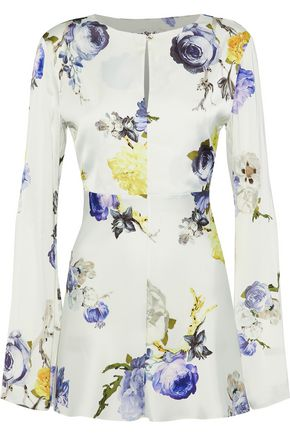ACNE STUDIOS Cutout floral-print satin top