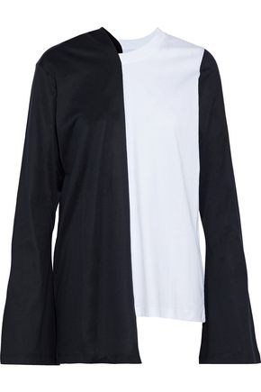 MARQUES' ALMEIDA Asymmetric two-tone cotton-jersey top