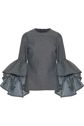 MARQUES' ALMEIDA Ruffled cotton-blend twill top