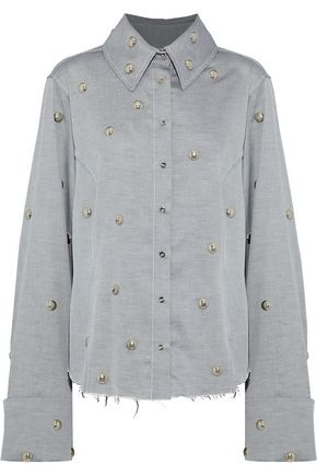 MARQUES' ALMEIDA Studded cotton-twill shirt