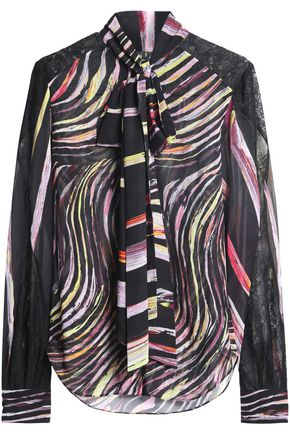ZUHAIR MURAD Pussy-bow printed silk-voile blouse