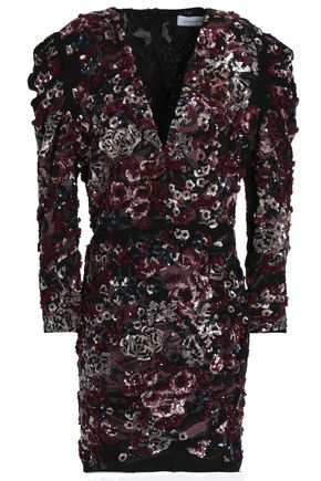 ZUHAIR MURAD Wrap-effect embellished embroidered crepe mini dress