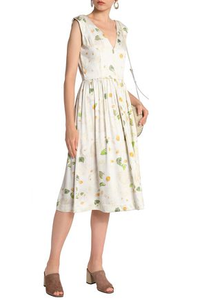 ISOLDA Pleated floral-print gathered twill midi dress