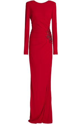 ZUHAIR MURAD Ruched embellished crepe gown