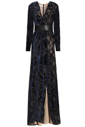 ZUHAIR MURAD Wrap-effect leather-trimmed dévoré-velvet gown