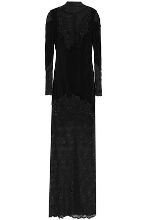 ZUHAIR MURAD Embellished lace-paneled cotton-blend velvet gown