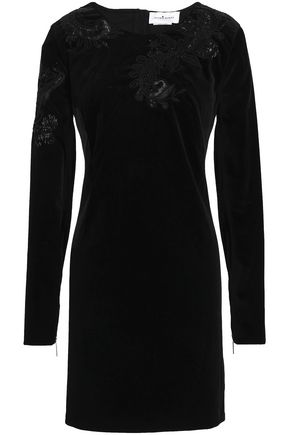 ZUHAIR MURAD Embellished cotton-blend velvet mini dress